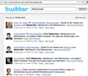 Search.Twitter hier am Beispiel Suche: Medientalk