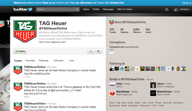 Tag Heuer in Twitter