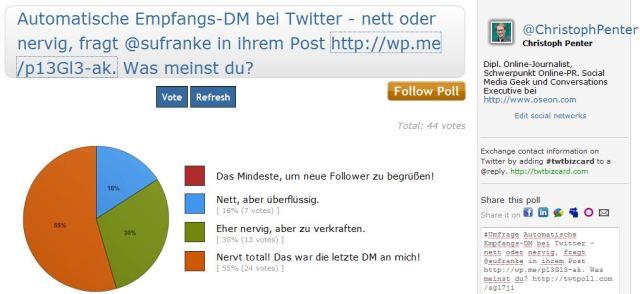 kurze spontane Umfrage zu DM als Begrüssung bei neuen Followern
